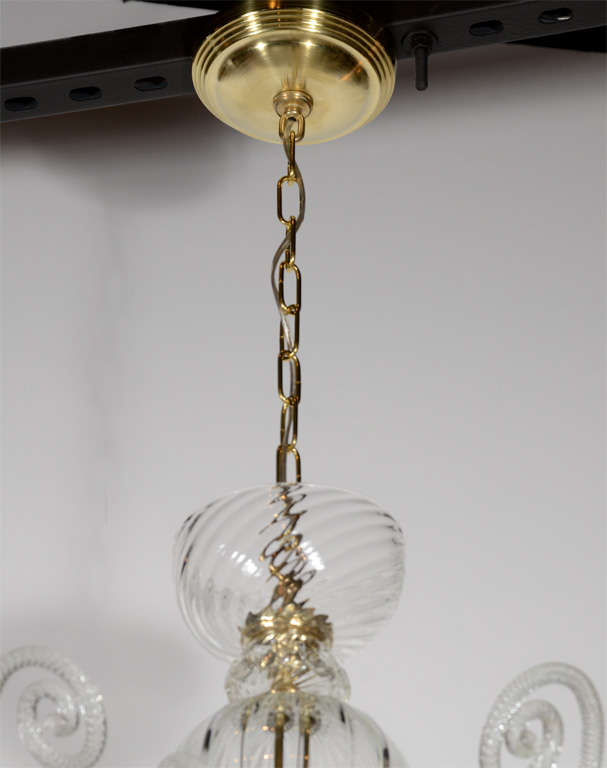 Superb 1920s  Murano Glass Eight Arm Chandelier with Gold Flecks 5