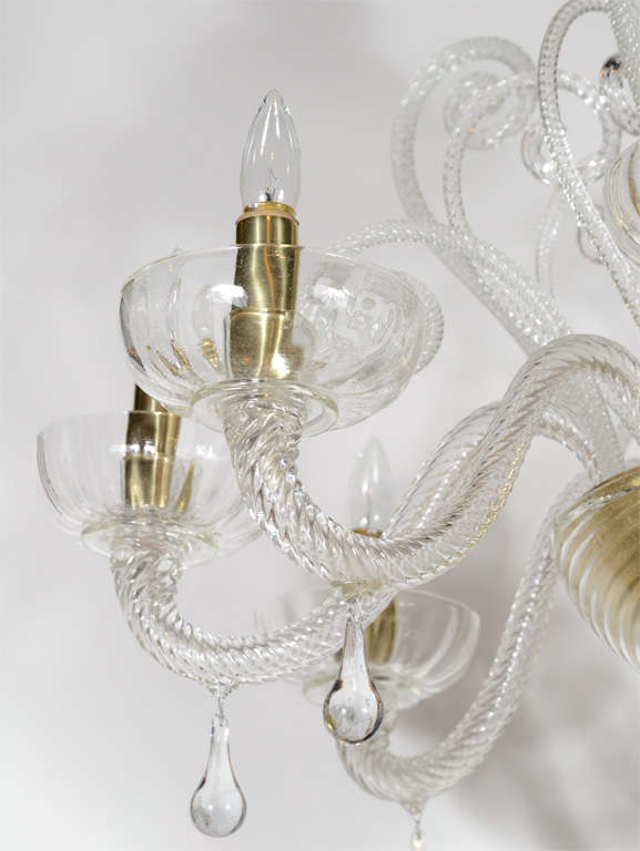 Superb 1920s  Murano Glass Eight Arm Chandelier with Gold Flecks 6