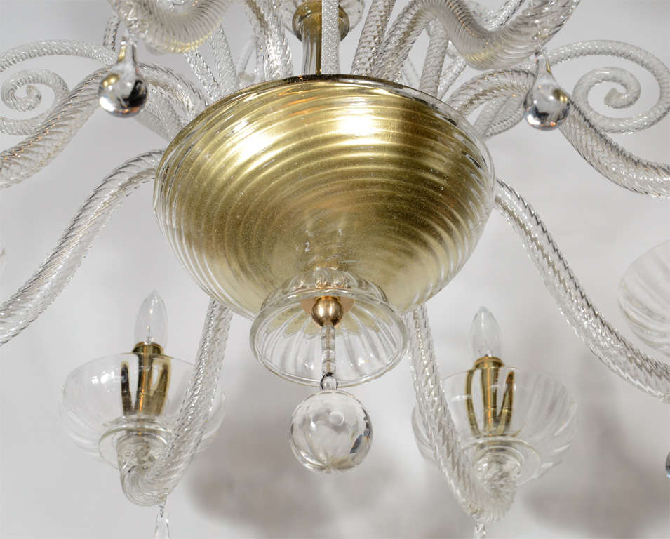 Superb 1920s  Murano Glass Eight Arm Chandelier with Gold Flecks 8