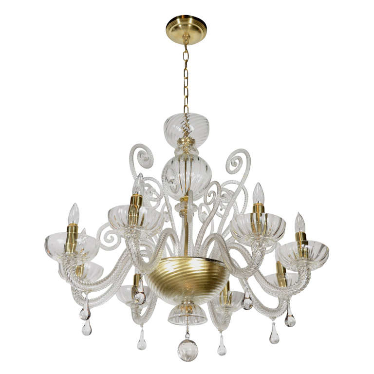 Superb 1920s  Murano Glass Eight Arm Chandelier with Gold Flecks 1