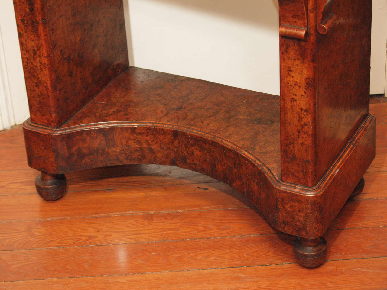 Charles X Burl Console Table With Rouge Marble Top At 1stdibs