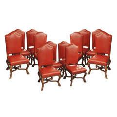 Set of 12 Italian Walnut Hoof Foot Leather Dining Chairs