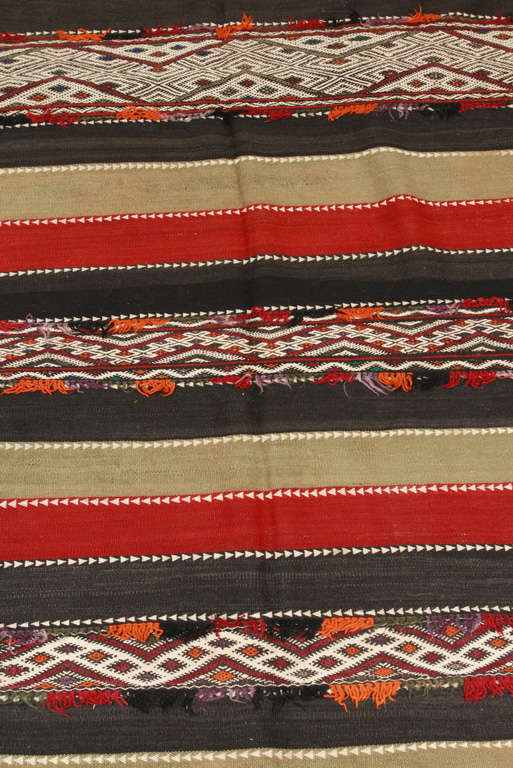 Hand-Crafted Vintage Moroccan Tribal Kilim Rug For Sale
