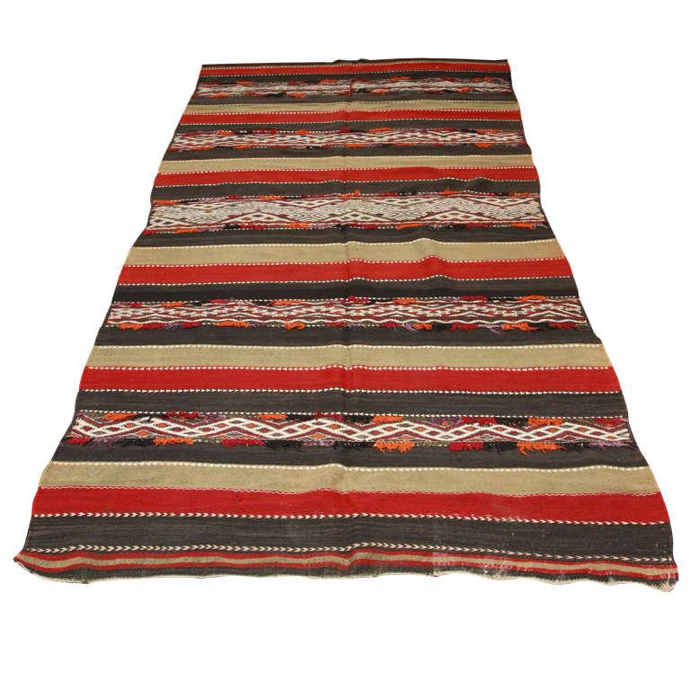 Vintage Moroccan Tribal Kilim Rug North Africa