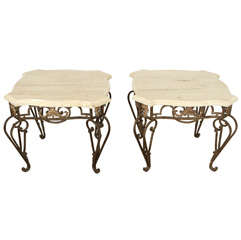 Pair of Outdoor Garden Side Tables Gilt Iron Base with Limestone Top