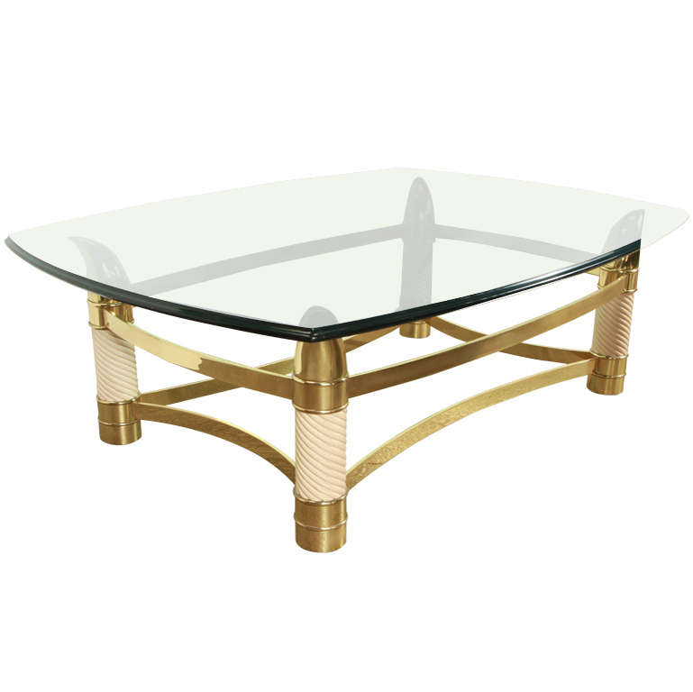 italian faux tusk brass coffee table tomasso barbi style at 1stdibs