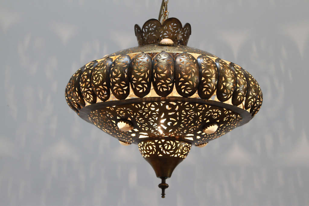 Moroccan Brass Chandelier In Alberto Pinto Style At 1stdibs