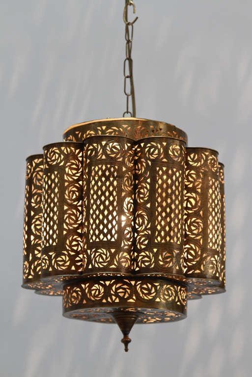 Pierced Brass Moroccan Light Fixture in Alberto Pinto Style 2