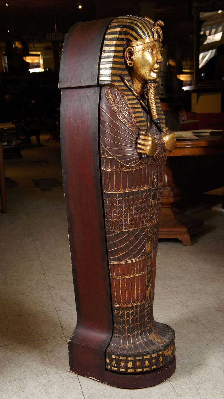 20th Century Egyptian Mummy Sarcophagus Style Cd Cabinet For