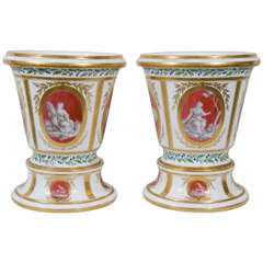 A Pair of 18th Century French Cache Pots: Porcelaine à la Reine