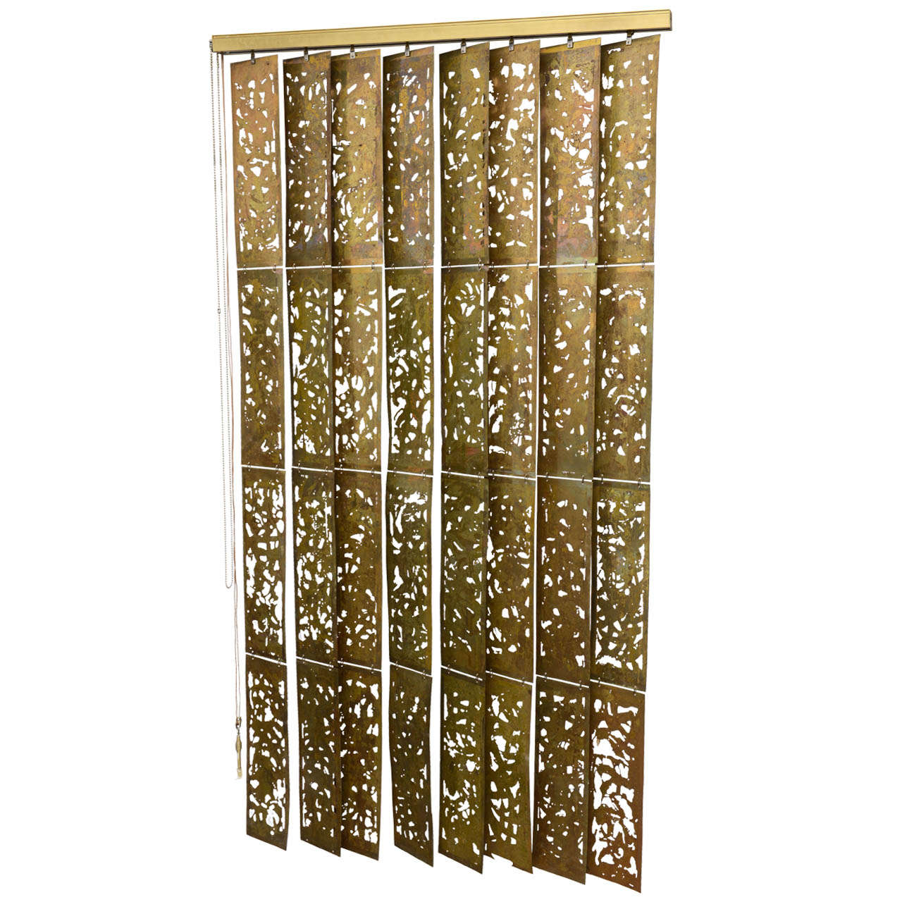 Brass Metal Acid Etched Curtains Blinds At 1stdibs