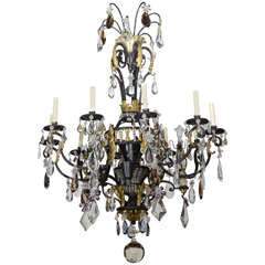 Large French Iron, Gilt Iron, Crystal and Rock Crystal Chandelier