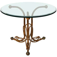 An Unusual Faux Bois Painted Metal, Glass Top Table Marked Thonet