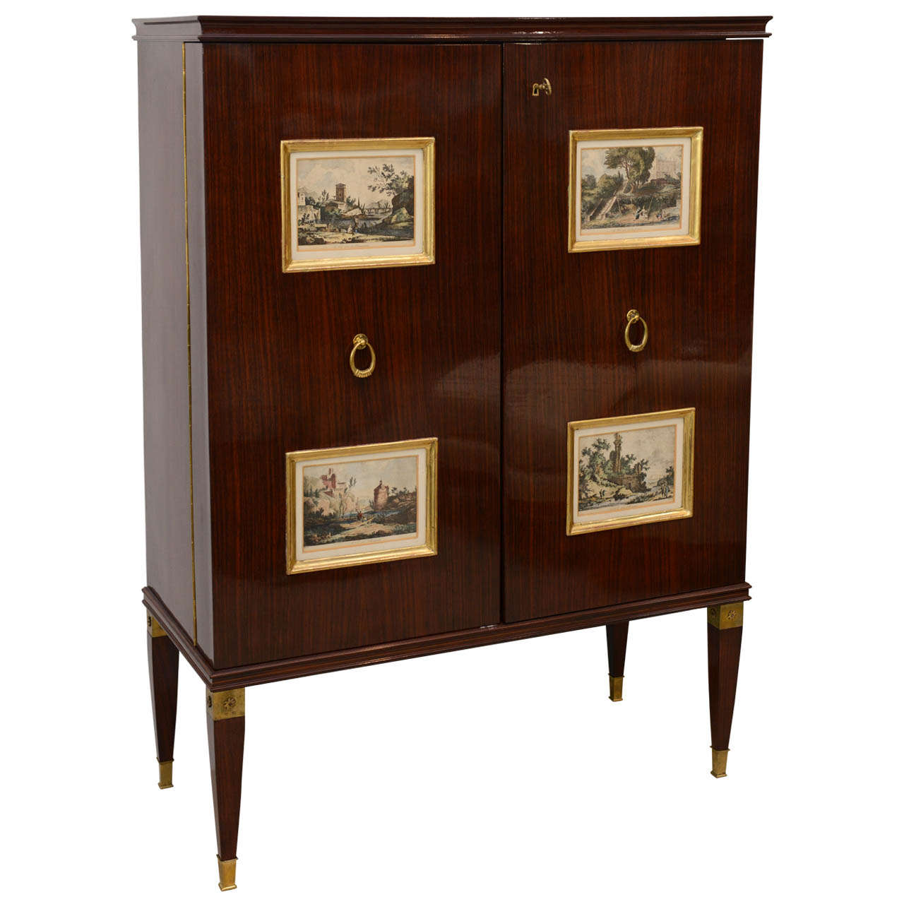 Fine Paolo Buffa Mahogany and Gilt Bronze Bar Cabinet, Italy