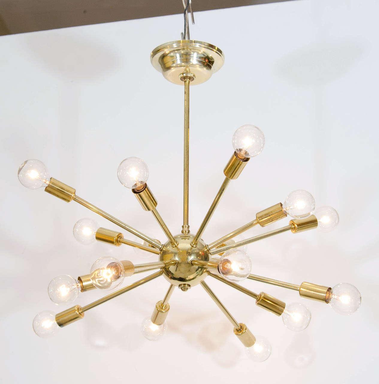Classic brass sputnik chandelier at 1stdibs for Sputnik chandelier