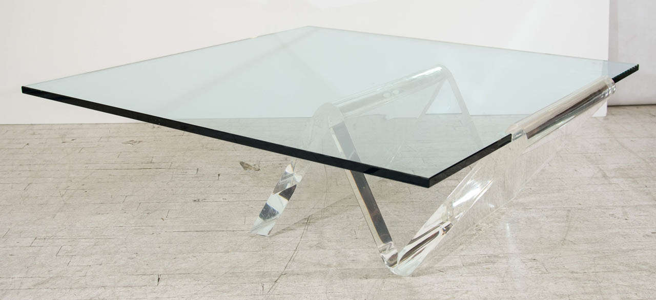 Grand Cantilevered Lucite Coffee Table At 1stdibs