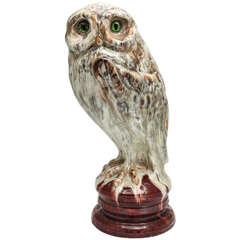 A Rare Signed Emile Galle Faience Owl