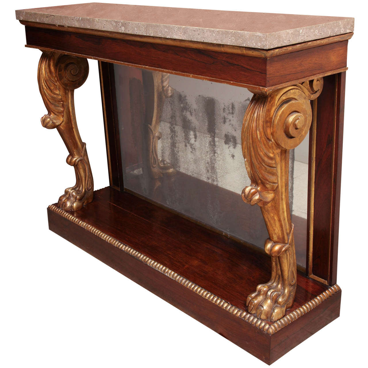 Early 19th Century English, Parcel Gilt Console with Later Fossilized Stone Top