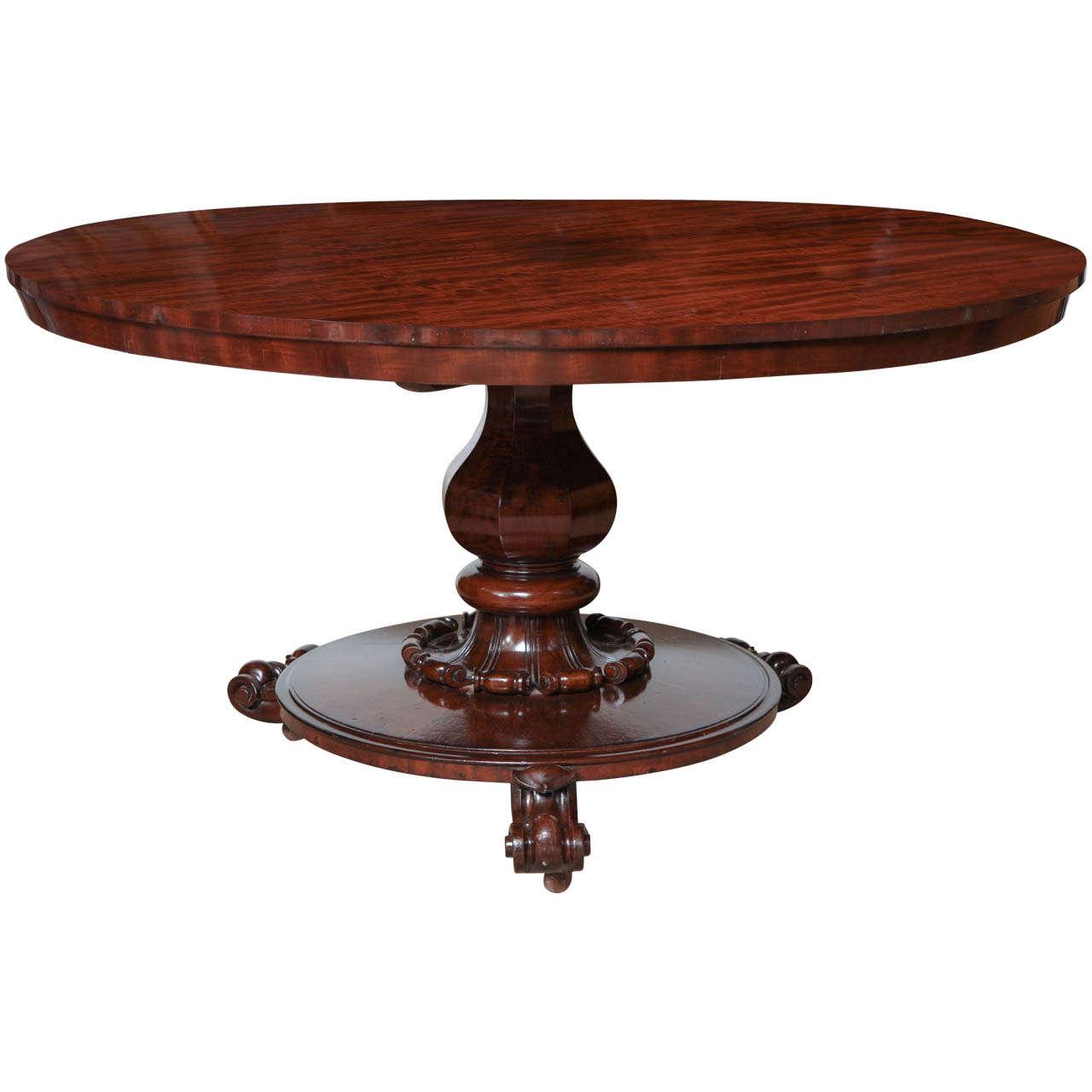 19th Century Irish Mahogany Centre Pedestal Table For Sale At 1stdibs