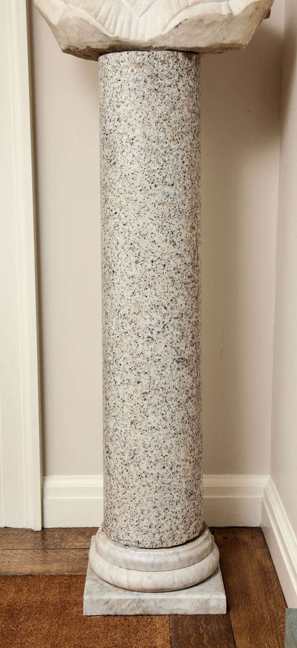 Granite Column on Marble Base In Good Condition For Sale In New York, NY