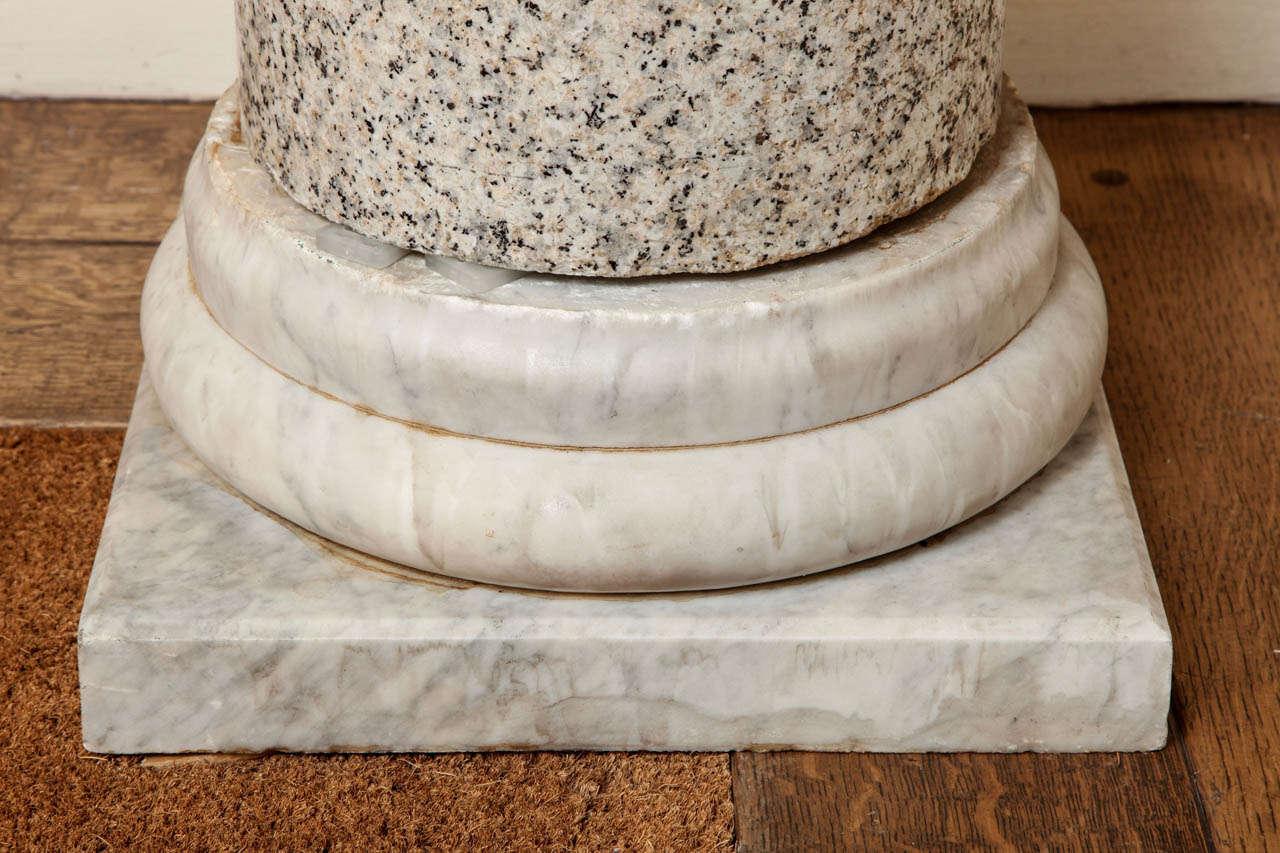 Granite Column on Marble Base For Sale 3