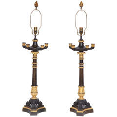 Pair of 19th Century Bronze and Gilt Bronze Candelabra Converted to Lamps