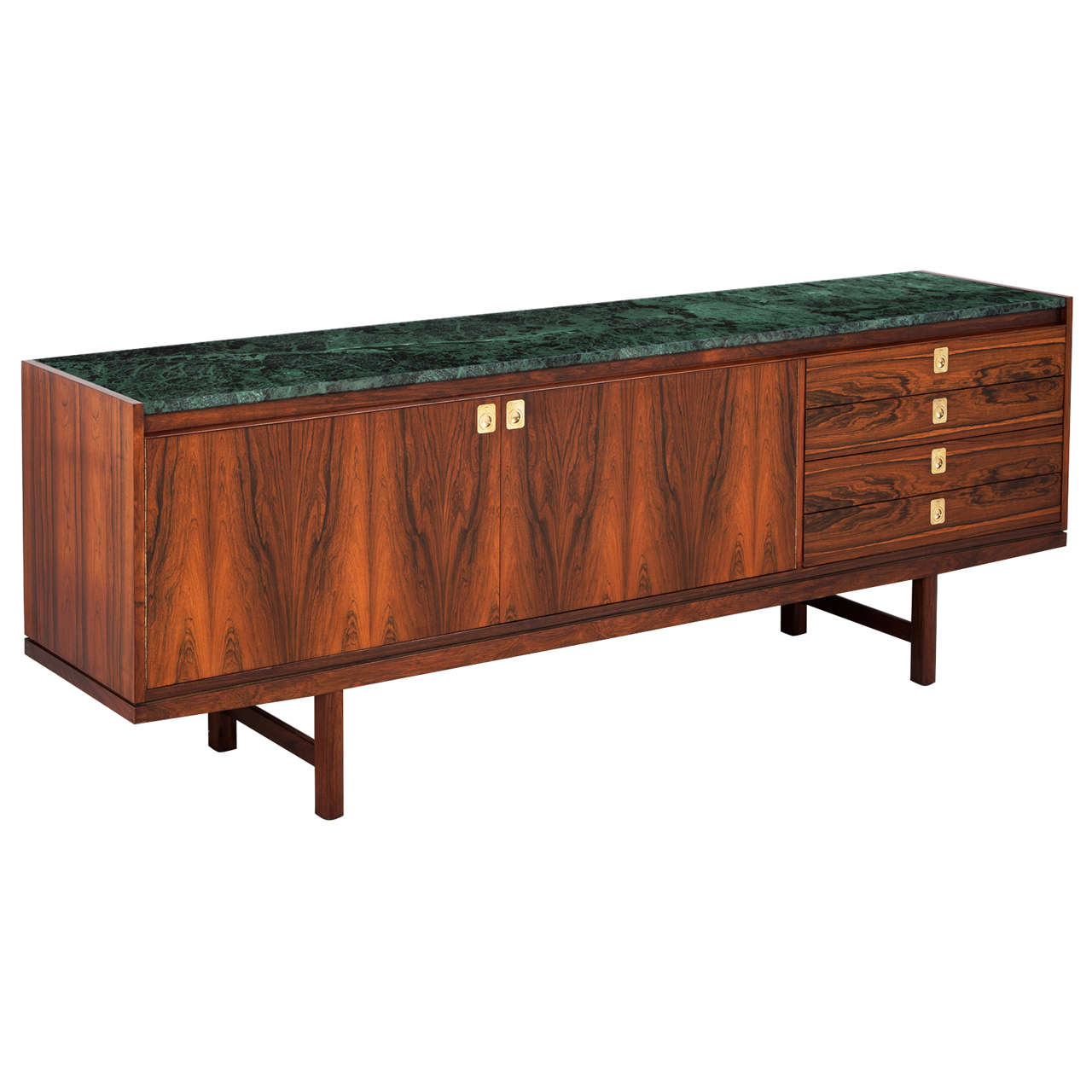 Rosewood Sideboard By Robert Heritage With Green Marble