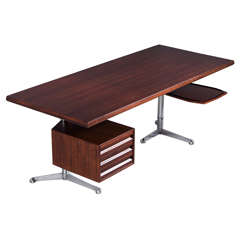 Osvaldo Borsani Executive Desk in Rosewood for Tecno