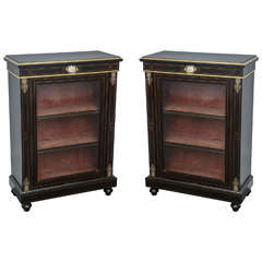 19th Century Pair of Black Ebony Cabinets with French Limoges Plaques