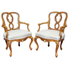 Pair of 1880s Venetian Rococo Style Open Armchairs