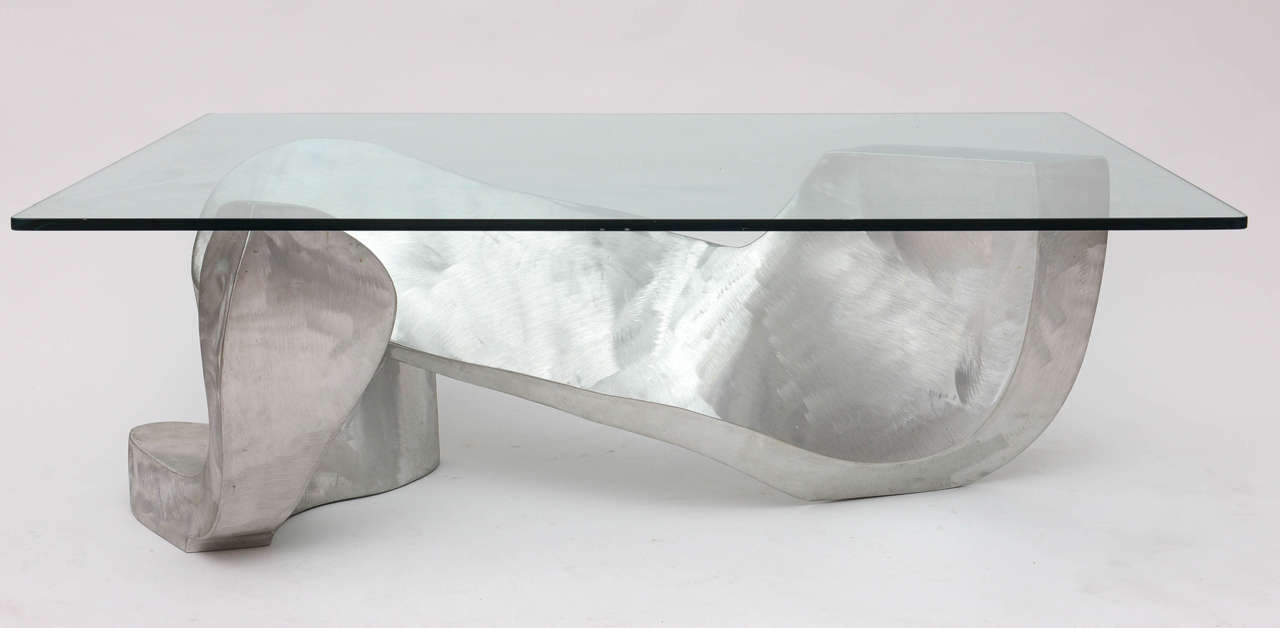 American Bill Barrett Fabricated Aluminum Sculpture Coffee Table For Sale