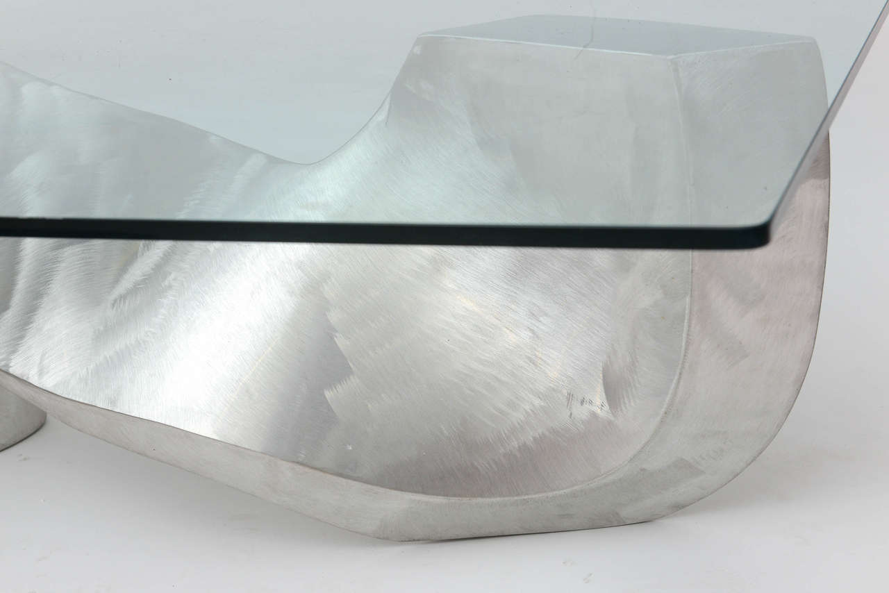 Late 20th Century Bill Barrett Fabricated Aluminum Sculpture Coffee Table For Sale