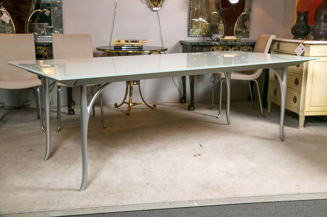 A Very Fine And Sleek Roche Bobois Dining Table With Extendable Leaf This Custom Quality