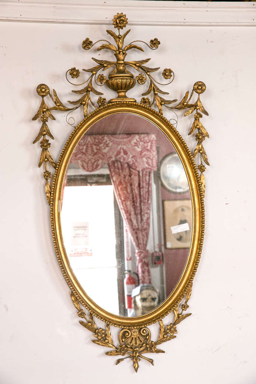 oval mirror frame. An Antique Oval Gilt Gold Georgian Mirror. This Wonderfully Decorative Mirror Framed In A Frame
