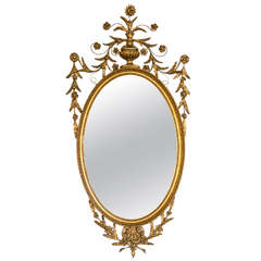 Antique Oval Gilt Gold Georgian Mirror