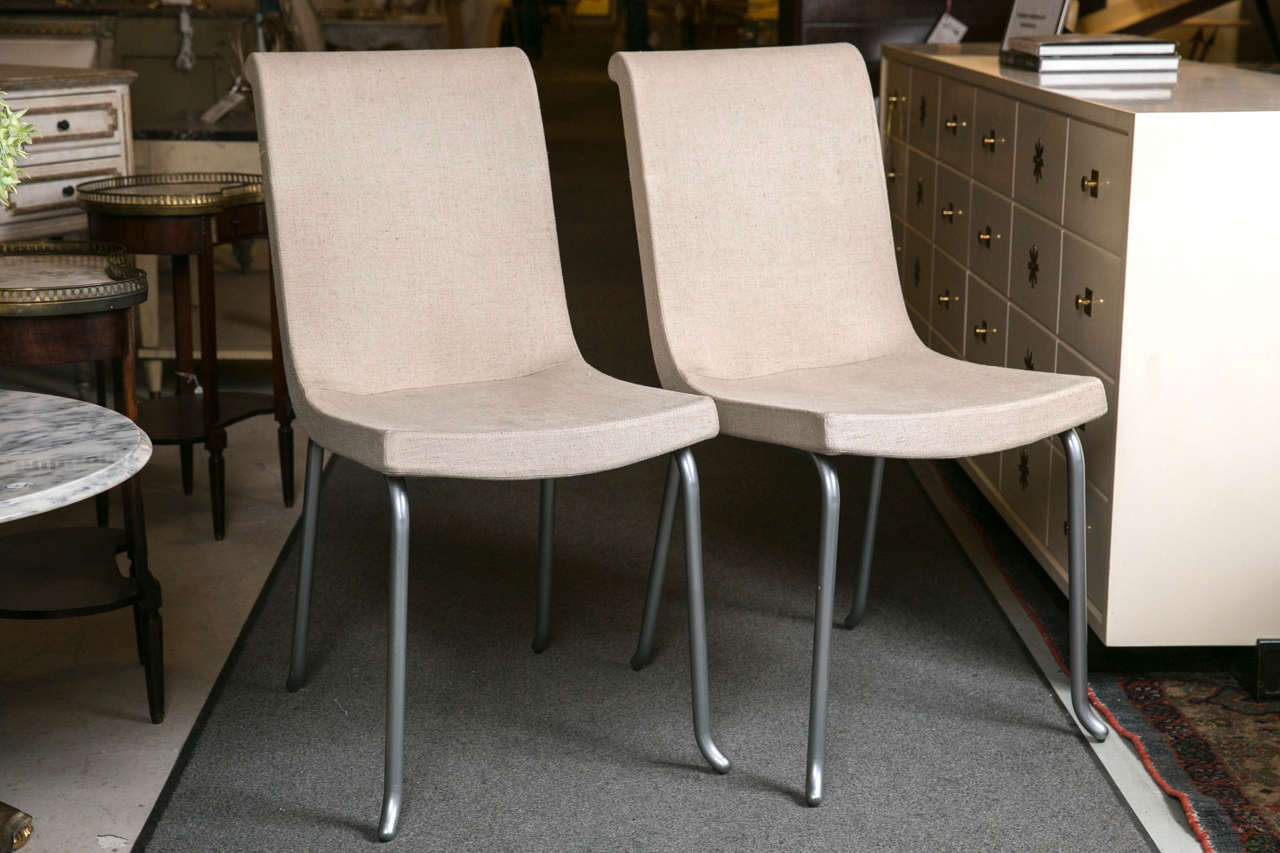 Set Of Six Roche Bobois Chairs. Contemporary Dining Chairs With Grey Linen  Fabric. Steel