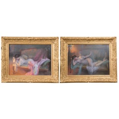 Pair of Pastels on Board Signed Oelphin Enjolras In Wonderfully Carved Frames