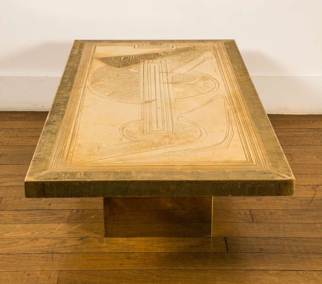 Amazing photo of Rectangular gilt brass coffee Table by Armand Jonckers 1970s For Sale  with #412804 color and 1280x1129 pixels