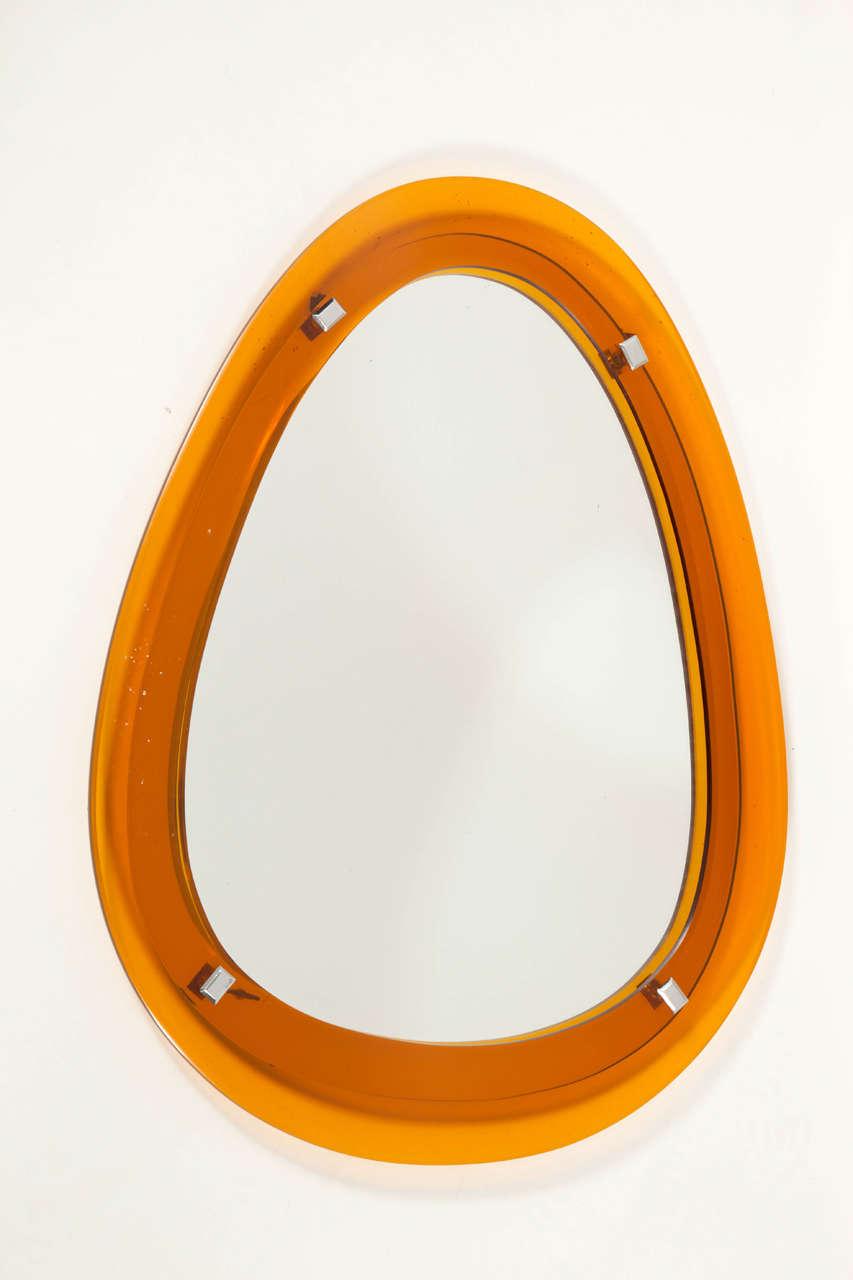 orange ovoid shape mirror italy 1960s at 1stdibs. Black Bedroom Furniture Sets. Home Design Ideas