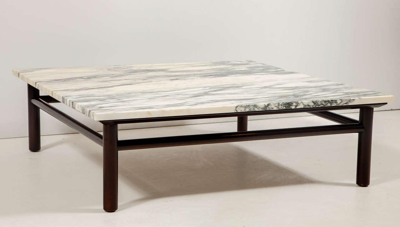 Robsjohn-Gibbings Walnut and Marble Coffee Table 2