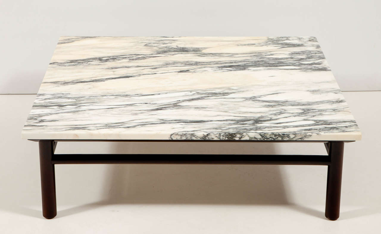 Mid-Century Modern Robsjohn-Gibbings Walnut and Marble Coffee Table For Sale