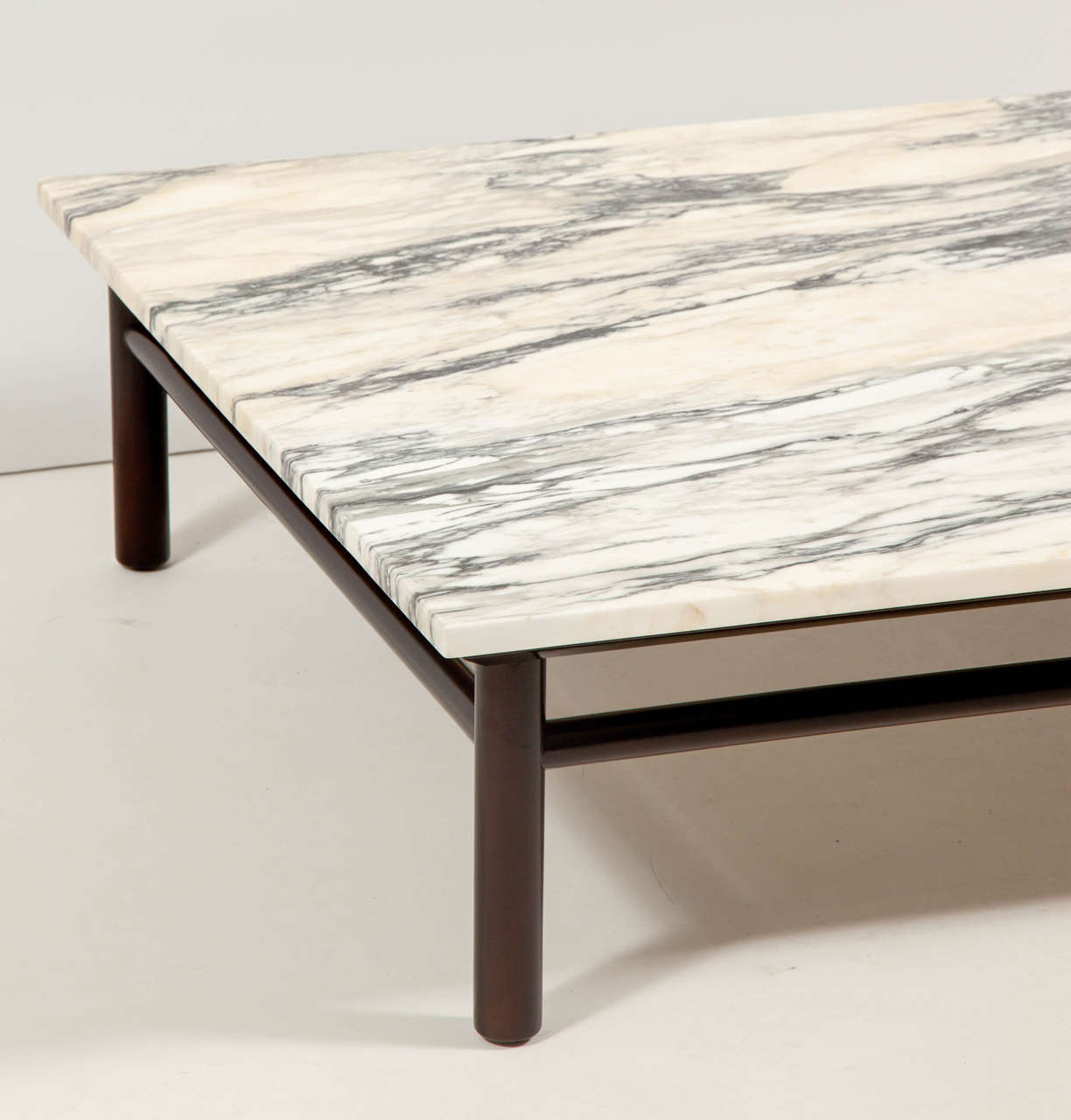 American Robsjohn-Gibbings Walnut and Marble Coffee Table For Sale