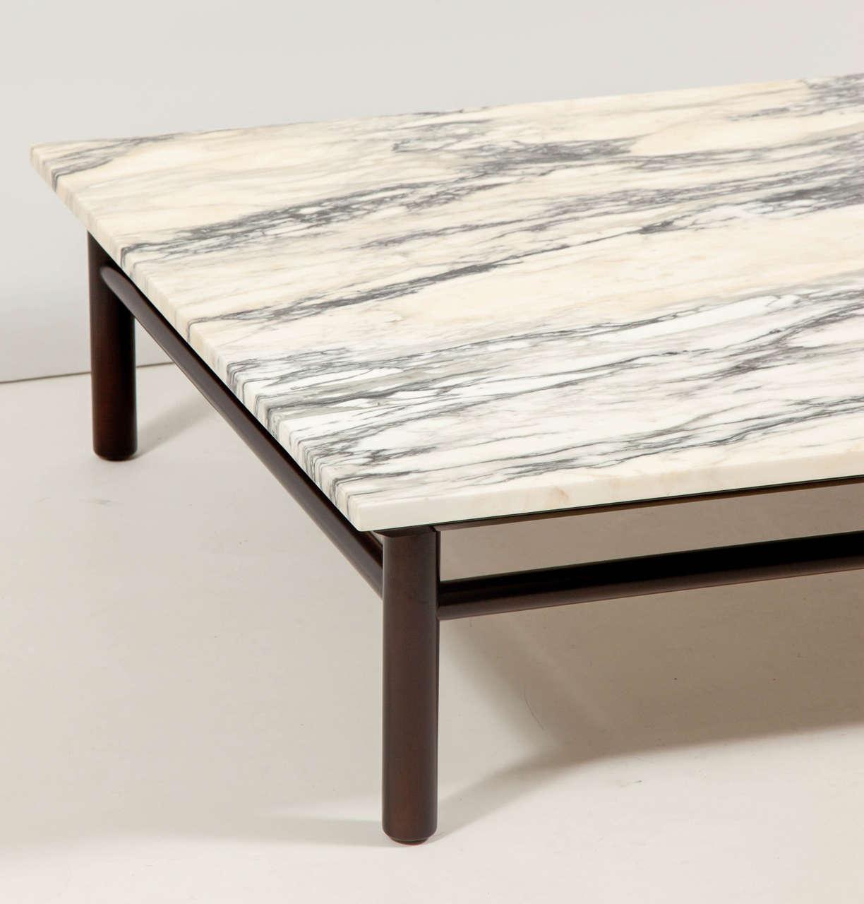 Robsjohn-Gibbings Walnut and Marble Coffee Table 4