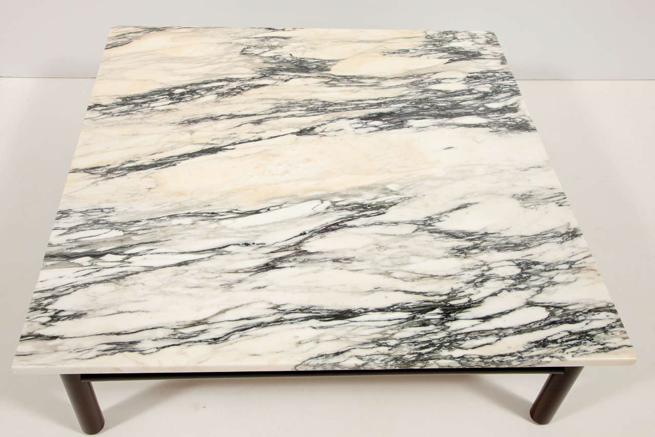 Robsjohn-Gibbings Walnut and Marble Coffee Table In Excellent Condition For Sale In New York, NY