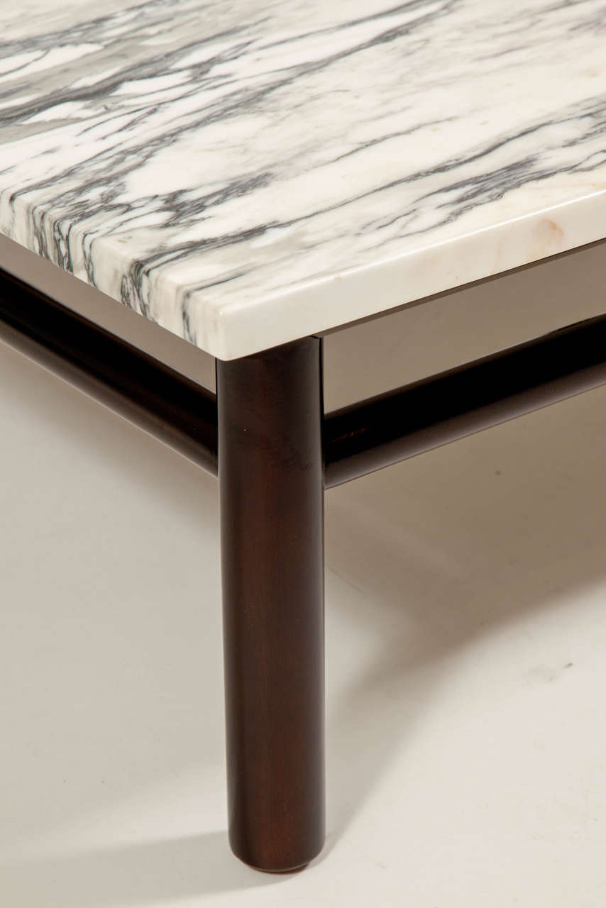 Robsjohn-Gibbings Walnut and Marble Coffee Table 7