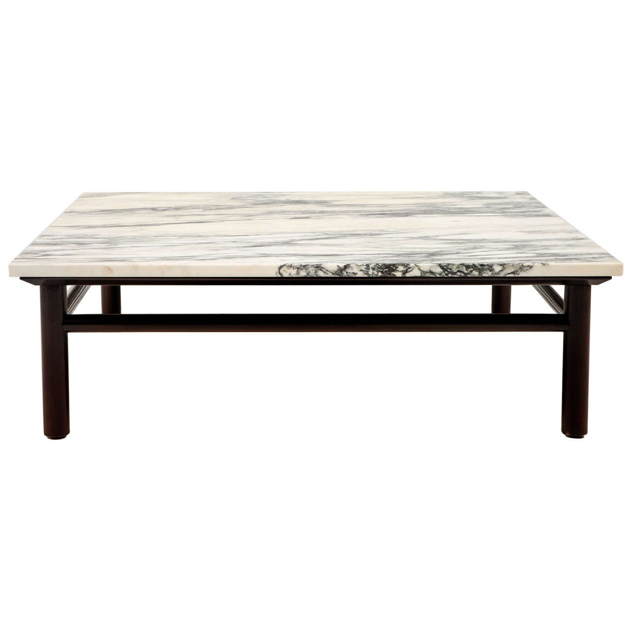 T.H. Robsjohn-Gibbings walnut and marble coffee table, 1950s