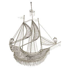 1960s Italian Crystal Galleon Chandelier