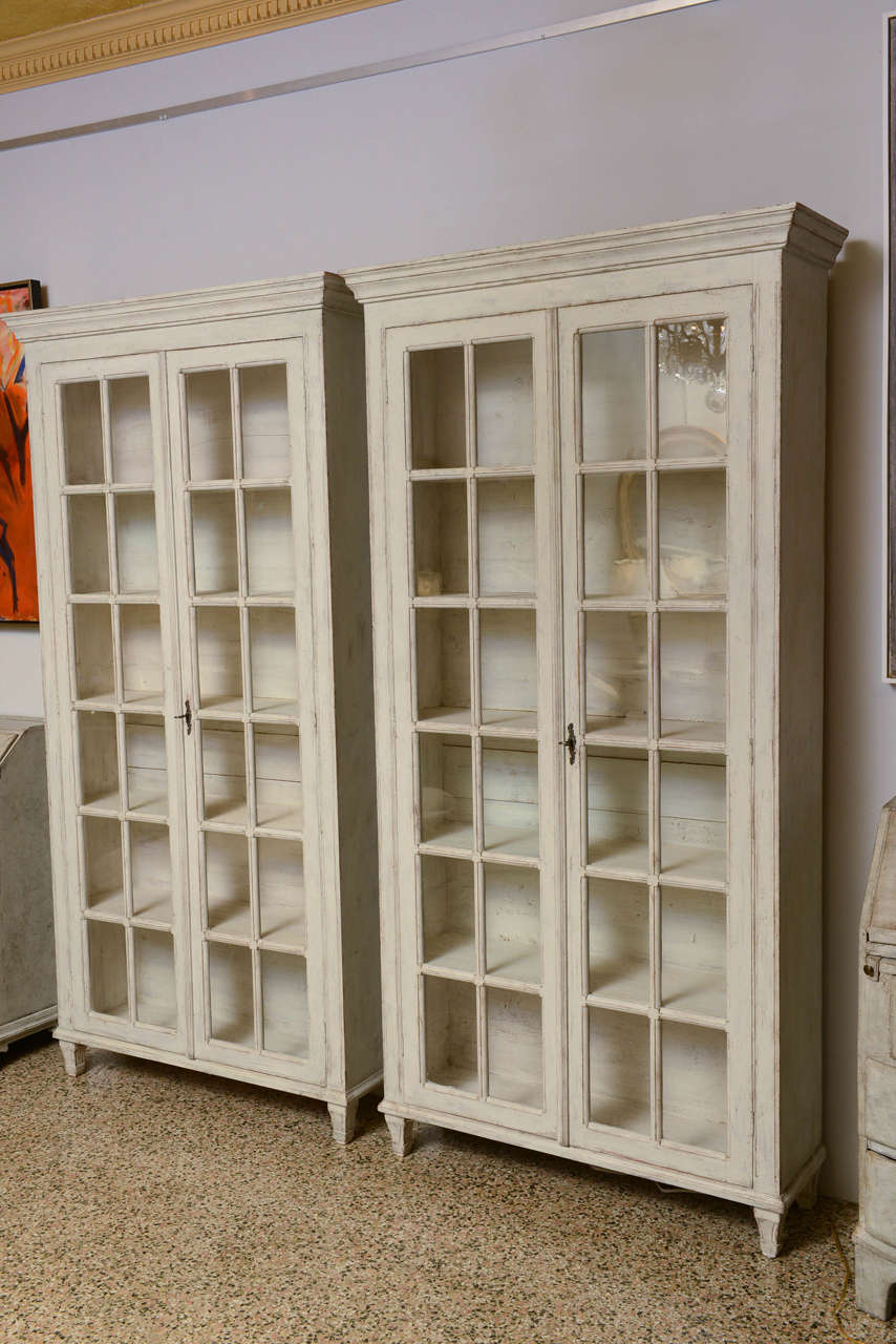 19th Century Pair Of Swedish Antique Period Gustavian Book Cabinets