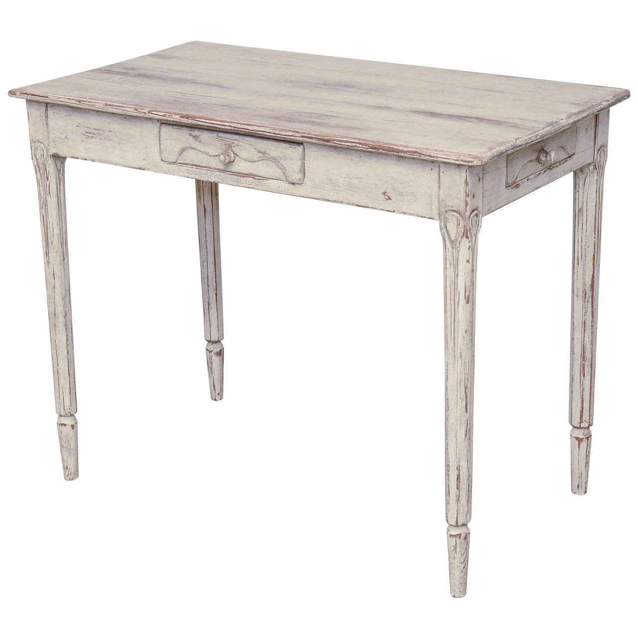 19th Century Antique Swedish Gustavian Table with Three Drawers For Sale - 19th Century Antique Swedish Gustavian Table With Three Drawers At