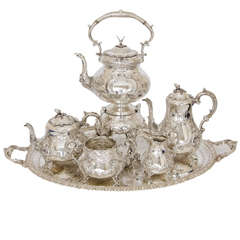An Antique Silver Tea and Coffee Service& Silver Pated Kettle & Tray
